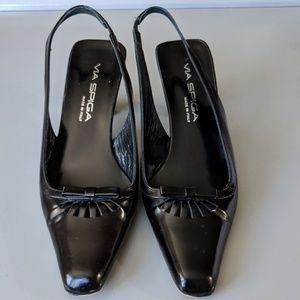 VIA SPIGA Bow Leather Slingback square toe…